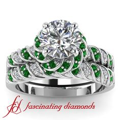 NEW Round Halo Petite Diamond & Emerald Green Diamond Engagement Wedding Rings Set In Micro-Pave Set