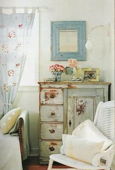 Ideas for cabinet in guest room at Lizzie's house in the novel Shabby Chic Forever. Bedroom Romantic Prairie Style, little blue mirror