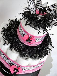 Diaper Cake  Little Diva Pink & Black Bling by DomesticDivaDesignz, $35.00