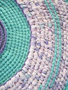 Toothbrush Rag Rug Crochet Rug Mixed Media Style Rug Non Skid Throw Rug Folk Art Rug Lavender and Turquoise. $75.00, via Etsy.