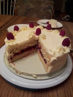 White cake with raspberry filling and cream cheese frosting 2