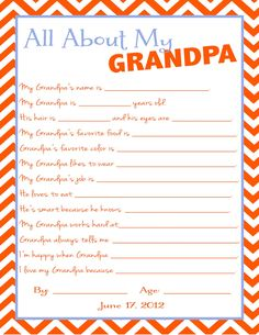 Grandpa Questionnaire for Father's Day