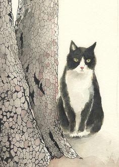 Japanese - BobTail Kitty ~ ~  Midori Yamada. 古い樹(部分. 2010. watercolor/ink. S)