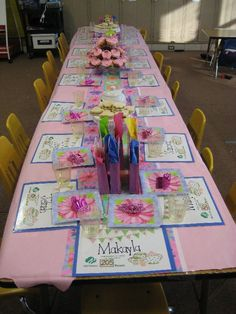 Girl Scout Tea Party...Great way to celebrate the cookie sale ending (if you look the placemats are certificates for # of boxes sold)