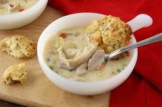 Chicken Pot Pie Soup with Cheddar Biscuits.