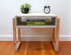 Love this nightstand made from reclaimed pallet - Pallet Nightstand  Reclaimed Wood Modern by TheDesignPallet