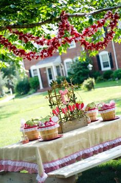 Strawberry themed birthday party. Beautiful pictures!