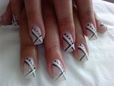Gentle Manicure with black and white decorations