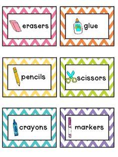 Chevron Classroom Supply Labels
