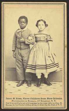 "Isaac and Rosa 1863.  Rosa is mixed race ancestry.  Both were former slaves. Historic photos of ""white"" slaves"