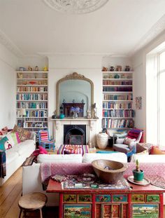 bookcases, white design, moroccan design, fireplaces, colors, shelves, family rooms, homes, modern interiors