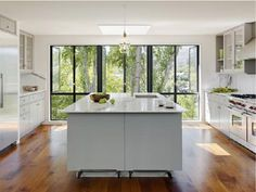 modern kitchen and windows