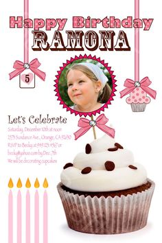 Pink and Brown Cupcake Theme Photo Birthday Party by socalcrafty, $15.00