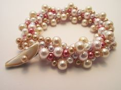 Pastel Pearls Turkish Crocheted into this lovely bracelet with a Shell Toggle closure