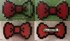 DIY Perler Bead Hair Bow - Not a hairstyle. Just a cute and fun idea.