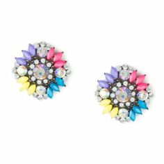 Crystal and Shiny Stone Flower Stud Earrings