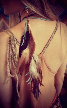 Feather and suede extension/super long earring