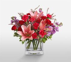 Mixed,Pink,Red,Carnation,Lily,Mixed Flower,Rose,Arrangement