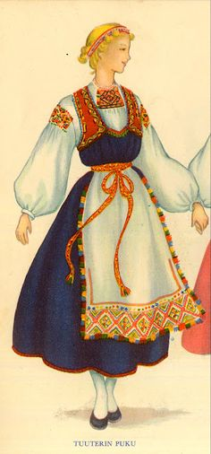 Folk costume of Tuuteri, based on a dress from 1880 in the Ingrian region of Karelia and part of former Finland, today belonging to Russia