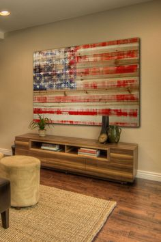 American Flag Wall Art in Wood.