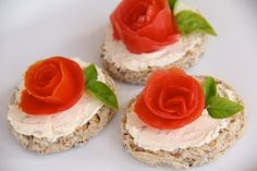 Open Face Rose Sandwiches! Vegetable Cream Cheese Base, Topped with Tomato Rose, Basil Leaf Garnish, on Cut-out Bread Rounds.
