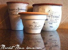 Make French styled pots with this tutorial and 45 OF THE BEST FRENCH INSPIRED CRAFT TUTORIALS EVER with their links! Absolutely incredible. GIFTS, HOUSE, EVENT, WEDDINGS, DECOR, FLOWERS, COOKIES.