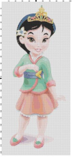 Mini Mulan cross stitch pattern PDF by Bluegiantstitch on Etsy, £1.20