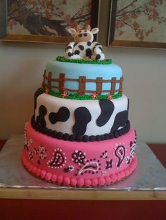 Possible cow themed1st birthday cake