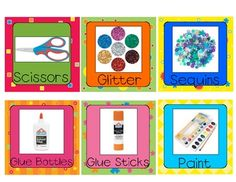It's FREE!    YAY!  :)  Included are (approx.) 3.5x3.5 labels for your classroom supply closet.  Print on card stock and laminate for classroom organization.