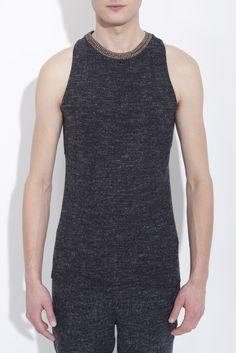Flecked grey sleeveless cotton jersey crew neck top