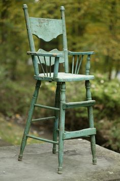 child's primitive wood high chair