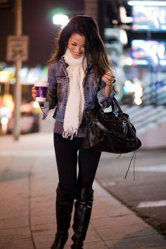 White scarf, denim jacket, gray shirt, black skinny pants, black leather boots