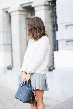 Minimal + Classic: white sweater, grey pleated skirt
