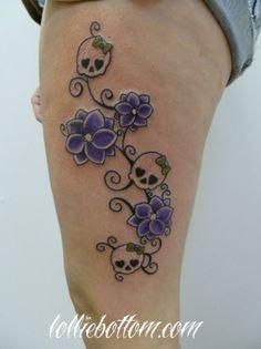 custom flowers & girlaskulls  by lollie  national award winning tattoo artist  precision body art : tulsa, ok  www.lolliebottom.com