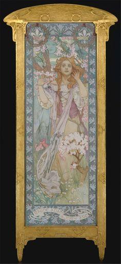 "Alphonse Mucha (1860-1939) - Jeanne D'Arc. Oil on Canvas. Circa 1909. 82-1/4"" x 30"" (208.9cm x 76.2cm). American Actress Maude Adams (1872–1953) in the role of Joan of Arc in Schiller's Die Jungfrau von Orleans (The Maid of Orleans as Joan of Arc). joan, alphons mucha, modern art, maud adam, arc, artnouveau, art history, alphonse mucha, art nouveau"