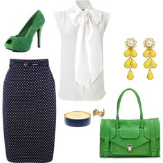 Navy polka-dot pencil, white top, green and yellow accessories.