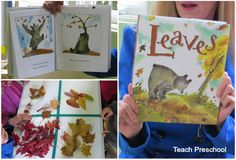 "Reading about ""Leaves"" and exploring our Table of Leaves."