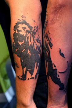 graphic lion tattoo by Deanna Wardin @ Tattoo Boogaloo, via Flickr