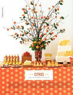 dessert tables, orang, citrus theme, citrus centerpiec, dessert buffet