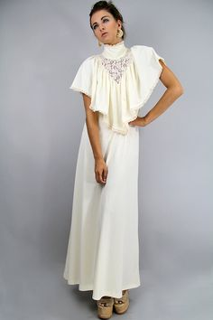 Vintage 70s CROCHET Maxi Dress with CAPELET  by TatiTatiVintage, $88.00
