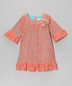 coral lace, babi style, lace shift, toddler girls, bells