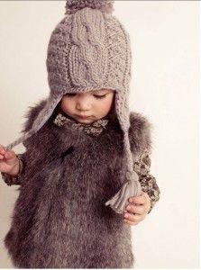 so cute. #toddler #winter #fashion #beanie #fur #vest