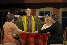 Melissa Smith as Mrs.Bradman, Anthony Fusco as Charles Condomine (partially obscured), Domenique Lozano as Madame Arcati, René Augesen as Ruth Condomine, and Kevin Rolston as Dr. Bradman in Cal Shakes' production of BLITHE SPIRIT (2012), directed by Mark Rucker; photo by Kevin Berne.