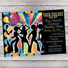Cool Retro 70's Disco Birthday Invitation by LiveBrightDesigns, $14.99