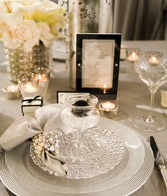 chic silver place setting