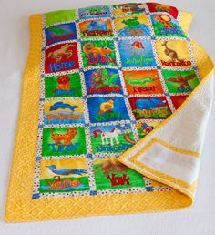Animal Alphabet of the World Baby Quilt by TheCheerfulChickadee, $125.00 alphabet quilt, baby quilts, babi quilt