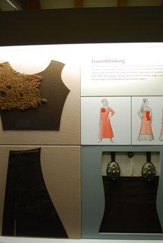 700 - 1000 AD, fragment of shirt/dress and apron dress from Haithabu, Germany (back then Denmark).