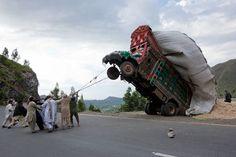 Overloaded vehicle.