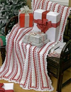 Red and white stripe crochet afghan