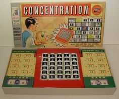 Concentration - Milton Bradley - 1950's game  This was a memory game with pictures of the prizes you won behind the numbers; it used to be televised.  #retro #games
